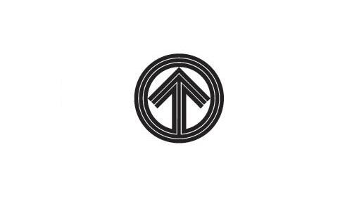 圆形黑色线条与向上的箭头设计成logo