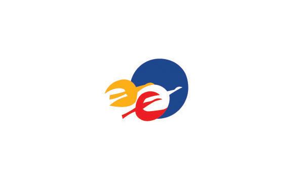 非洲地區風格logo設計:藍紅黃三種不同的圖案色彩搭配