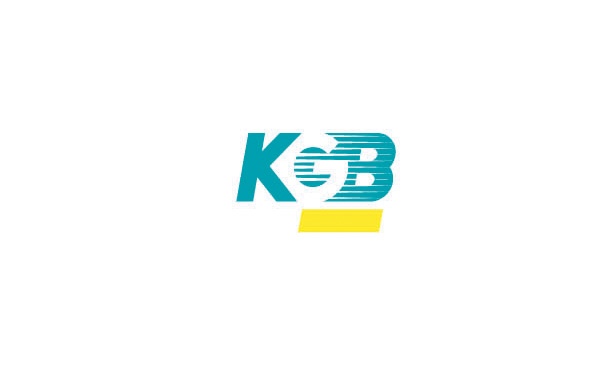 kgb品牌公司logo設計:g字母在中間反白,底部使用了長方形色塊