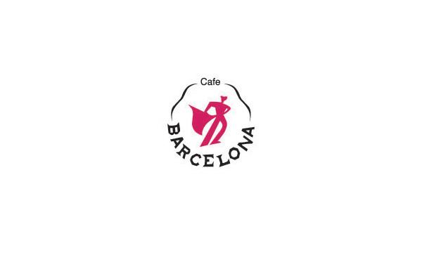 中间红色的力量人物手拿着红布的图案为创意,barcelona品牌标志