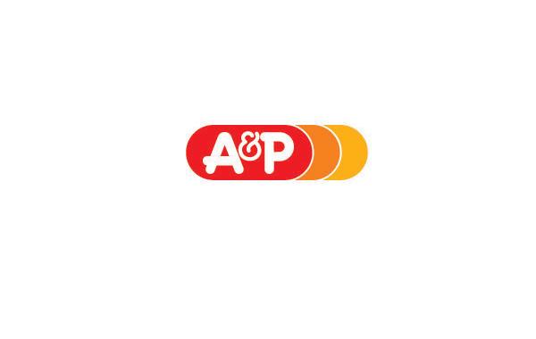 食品logo设计:大红色椭圆与ap字符融合向右逐渐斩变的
